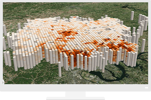 3D data overlaid a map